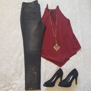 NWT ANA Sequin Skinny Ankle Jeans